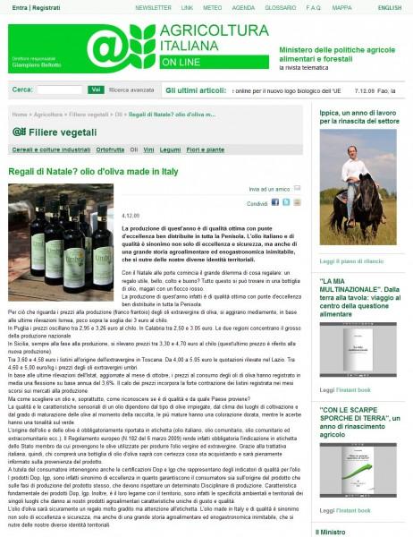 Regali di Natale- olio d'oliva made in Italy - Oli - Filiere vegetali - Agricoltura - Contenuti - Home - Agricoltura Italiana Online