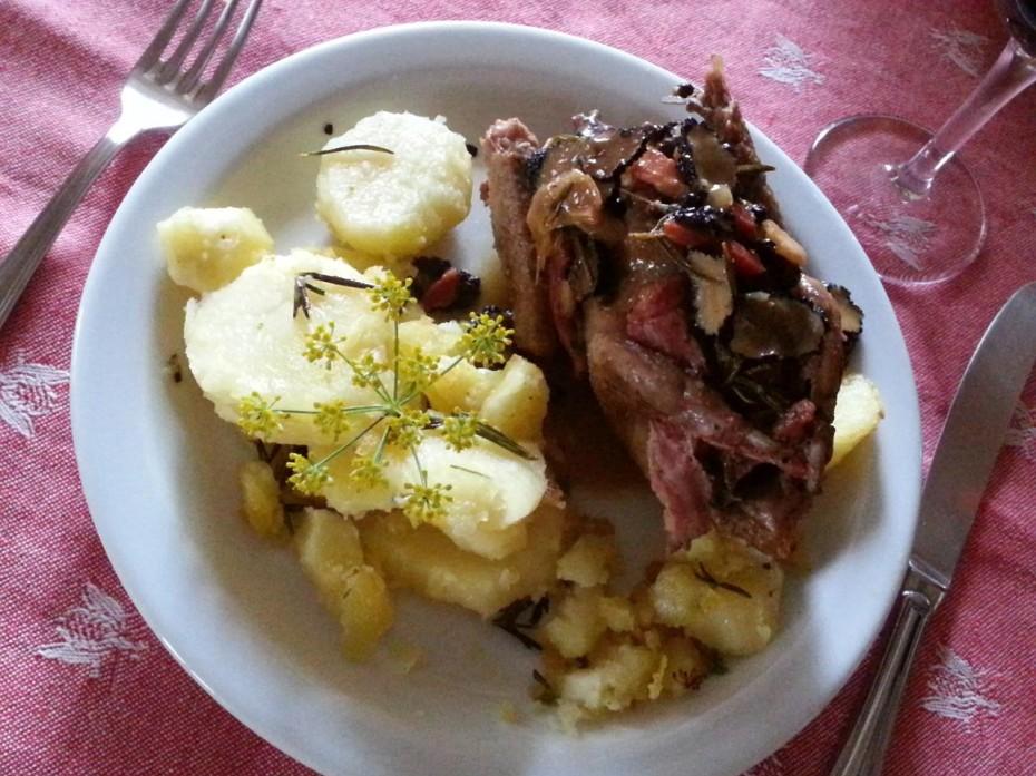 Piccione arrosto con patate