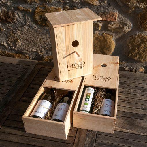 Cassetta in legno per bottiglie con due bottiglie di Delèlena